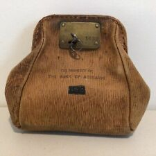 Vintage-The Property of The Bank of Adelaide Leather Beige Bank Bag with Key#571