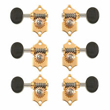 Waverly Guitar Tuners with Ebony Knobs for Slotted Pegheads, Gold, 3L/3R