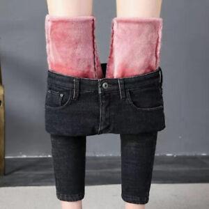 Women Winter Warm Denim Jeans Pants Skinny Velvet Fleece Lined Thick Pencil Pant