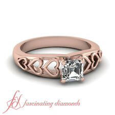 .40 Ct Asscher cut Affordable Rose Gold Filigree Hearts Solitaire Diamond Ring