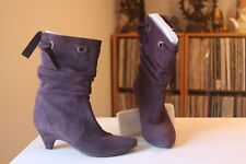 Barneys New York CO-OP  2 Inch Heel Purple Suede Slouch Ankle Boots EUR Size 38
