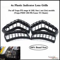 4x Black Plastic Indicators Grills Guard Protector For Vespa PX range & LML Star