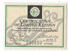 1991 CLASSIC BASKETBALL DRAFT PICKS CERTIFICATION OF LIMITED EDITION / CHECKLIST