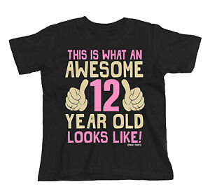 Kids ORGANIC Cotton T-Shirt AWESOME 12 Year Old Looks Like 12th Birthday Gift