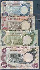 Nigeria Full SET of 1973 Issue / 50 Kobo, 1/5/10 Naira, Pick 14a~17a, 1973