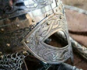 Medieval Viking Vendel Steel Etched Helmet with Chain mail