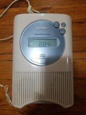 Sony ICF-CD73W AM/FM/Weather Shower CD Clock Radio - White EUC w/ Power Plug