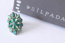 """Silpada Magnesite Turquoise Agate """"Kaleidoscope"""" Sterling Ring Size 6 R2870"""