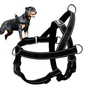 No Pull Dog Harness for Large Dogs Reflective Front Clip Walking Harness Black