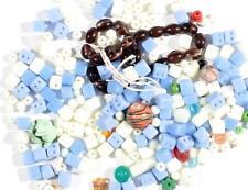 Lot (250) vintage Czech mixed blue Uranium round cube brown striped glass beads