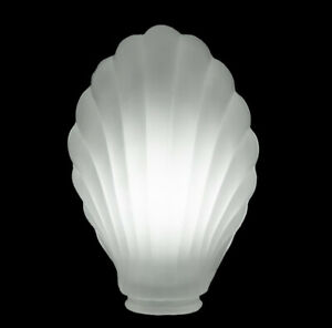 New Old Stock Crystal Frosted Clam Shell Desk Lamp Fixture Shade Art Deco