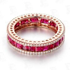 18K Rose Gold Filled White Sapphire 3 Rows Ruby Rings Marriage Jewelry #6-10 Hot