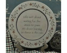 """Dance In The Rain - 9 1/2"""" Decorative Plate with Rusty Tin Stars and Berries"""