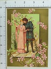 Victorian Trade Card Shakespearean Style Dress Man Lady Romantic Blossoms #F