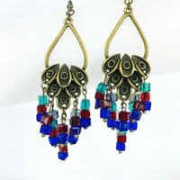 Cluster Crystal Drop Dangle Earrings Red Blue Green Antique Gold Tone Chandelier