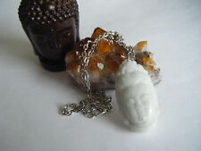 Spiritual Inspirational Wellness Necklace Buddha Hand Carved White Jade Pendant