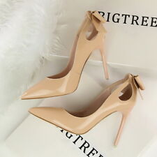 Women New Naked Stilettos Shoes Pointed-toe High Heels Lady Bowknot Pumps Shoes
