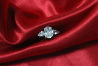 GIA Certified 3.50 Carat Oval and Pear Cut Diamond Engagement Ring 18K WG