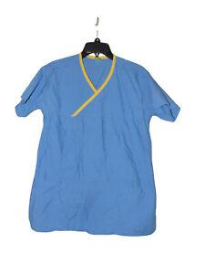 Fashion Seal Blue And Yellow Scrub Top Small