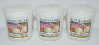 LOT OF 3 YANKEE CANDLE WHITE CHOCOLATE APPLE VOTIVE CANDLE SAMPLERS HTF WHITE