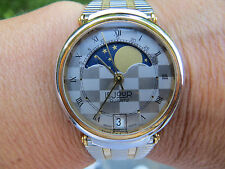 New Old Stock LeJour Checkerboard True Moon Phase Watch-SWISS Quartz-LeJour Box