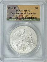 2010-P BOY SCOUTS AMERICA SILVER $1 (Flag Label) PCGS MS70