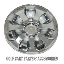 "CHROME 8"" Golf Cart Hub Caps  - EZGO, CLUB CAR, YAMAHA Set (4) NEW Wheel Covers"