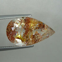 15.82 ct  SHIMMERING  RARE - UNTREATED NATURAL RUTILE INCLUSION TOPAZ Pear 2747