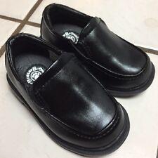 BUSTER BROWN LOGAN TOE ZONE little boys black leather-like slip on loafers sz 4