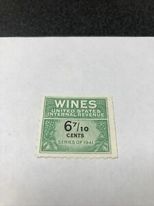 US # RE183A WINES united states internal revenue stamp 6 7/10 cents 1941 VF MNH