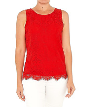 Amalfi Coast Plus 3XL 22 Elegant Red Lace Overlay Tank Top Dress Up or Casual