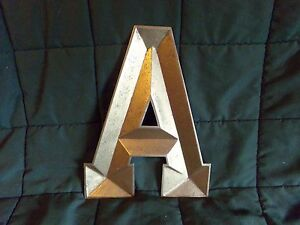 """METAL MONOGRAM INITIAL 'A' INDUSTRIAL STYLE WALL HANGING LETTER ART DECOR 11"""""""