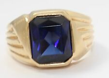 14k Yellow Gold Emerald Cut Blue Stone Bezel Set Mens Ring
