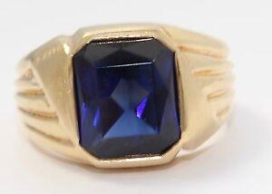 14k Yellow Gold Emerald Cut Blue Stone Bezel Set Mens Ring