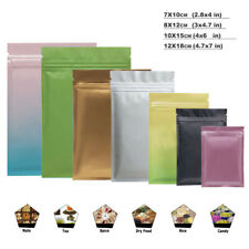 100pc Resealable Food Packaging Coffee Bags Solid Aluminum Foil Mylar Pouches