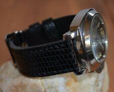 MA WATCH STRAP 26 24 22 MM GENUINE LIZARD SKIN BLACK SHINY HANDMADE FOR PANERAI