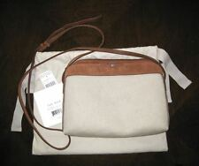 THE ROW NEW $1150 MULTI-POUCH CANVAS & SUEDE CROSS-BODY SHOULDER BAG
