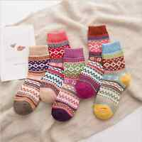 US 5 Pack Blue Women Wool Cashmere Socks Warm Thick Casual Winter Fashion Design