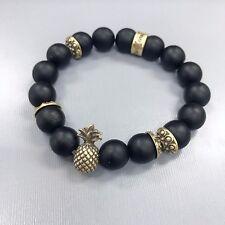 Antique Gold Finish Pineapple Black Stone Beaded Stretchable Bangle Bracelet