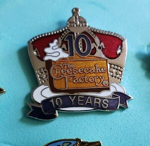 Cheesecake Factory 10 Years Of Service Crown Pie Slice Staff employee pin