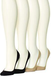 HUE Women's 179209 Hidden Cotton Liner Socks 4 pair pack Asst Size M/L