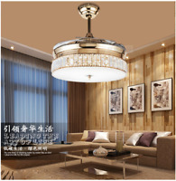 "Retractable 36"" Crystal LED Ceiling Fan Light Chandelier Light Remote Control"