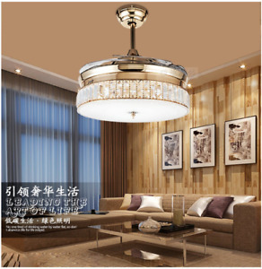 "Retractable 36"" Crystal LED Ceiling Fan Light Chandelier Light Remote Control"