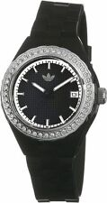 New Adidas Mini Cambridge Glossy Black Rubber Date Women Watch 35mm ADH2088 $75