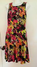 Calvin Klein Floral Dress Sleeveless Faux Wrap size 6 Polyester Bright Neon