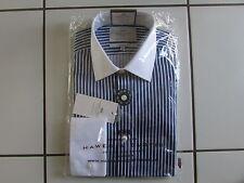 Hawes Curtis Shirt 15/35 Navy Blue Stripe White Collar Double Cuff Extra SlimFit