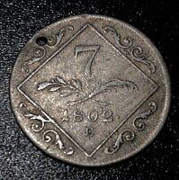 1802 E Austria Hungary Franz II Silver 7 Kreuzer Rare Transylvania Mint Coin