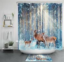 Sunshine Winter Snow Forest Deer Elk Reindeer Shower Curtain Set Bathroom Decor