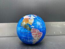 Inlaid Globe Paperweight With Beautiful Semi-Precious Stone