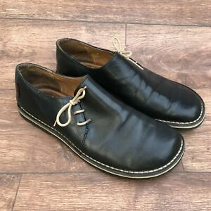 SIZE UK 6 KICKERS BLACK LEATHER SIDE LACE UP FLAT CASUAL SHOES SCHOOL SHOES